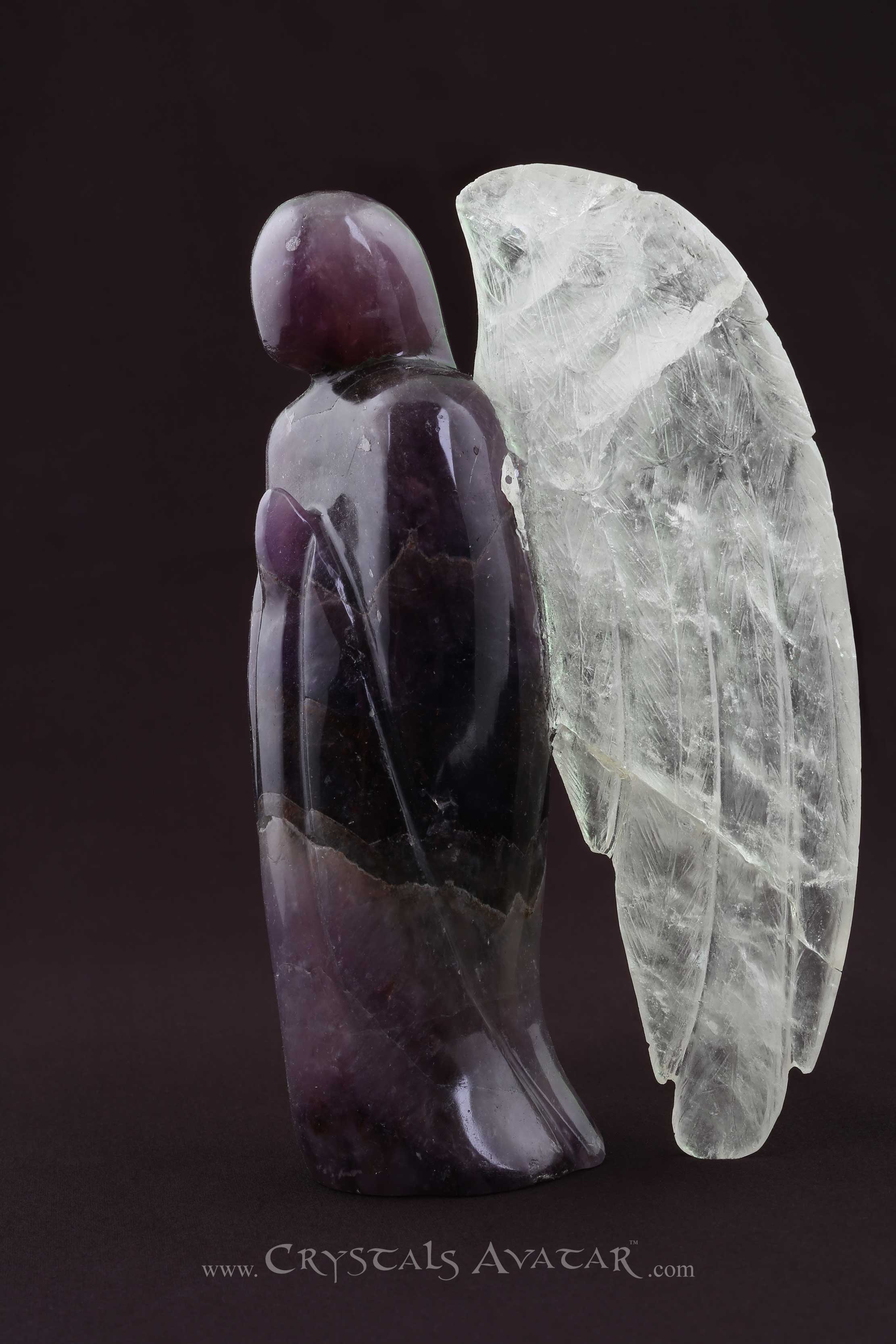 Auralite-23 Crystal Angel, Clear Quartz Wings, Hand Carved, Rare, Exotic