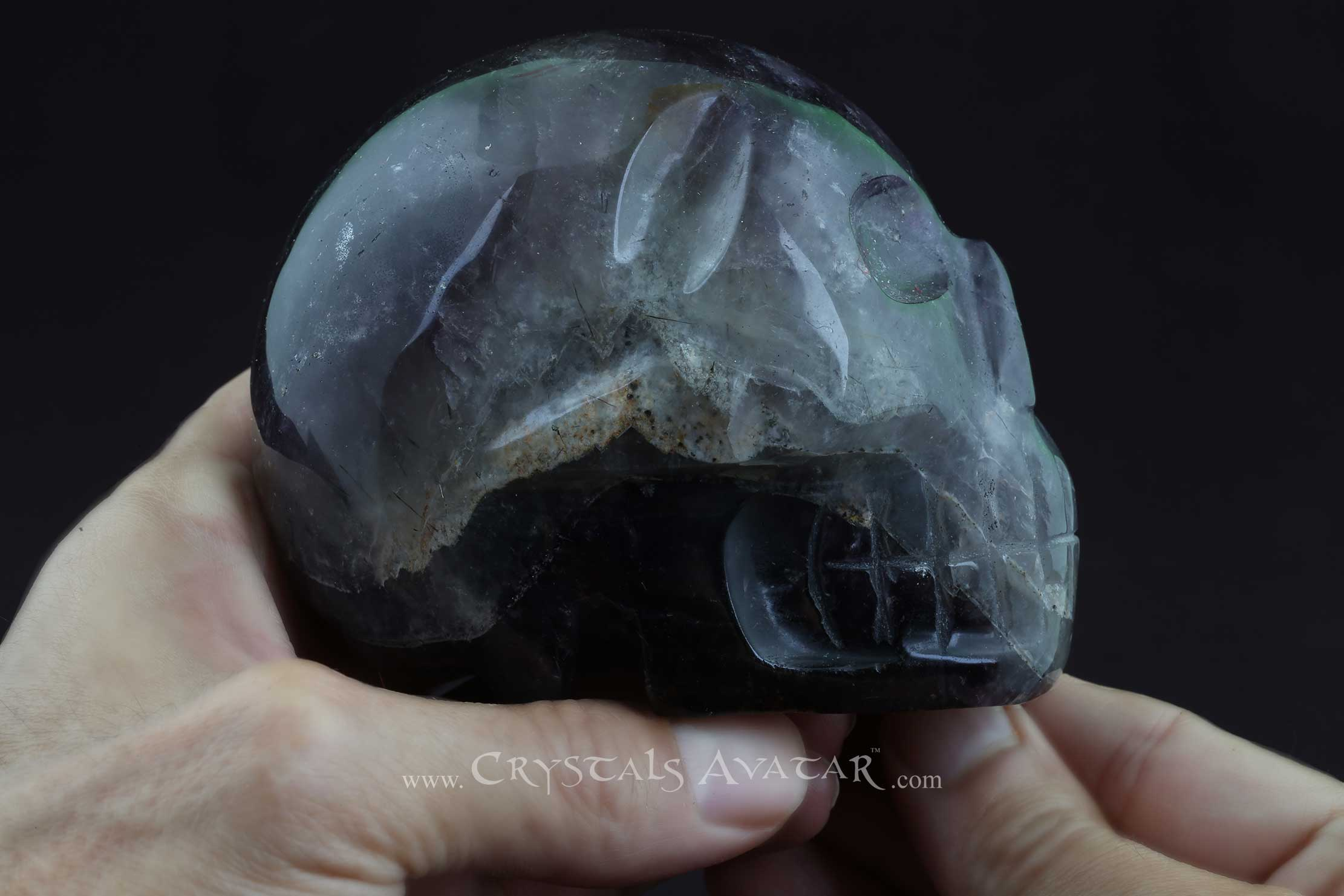 Auralite-23 Crystal Skull, Chevron, Polished, Hand Carved, Stone