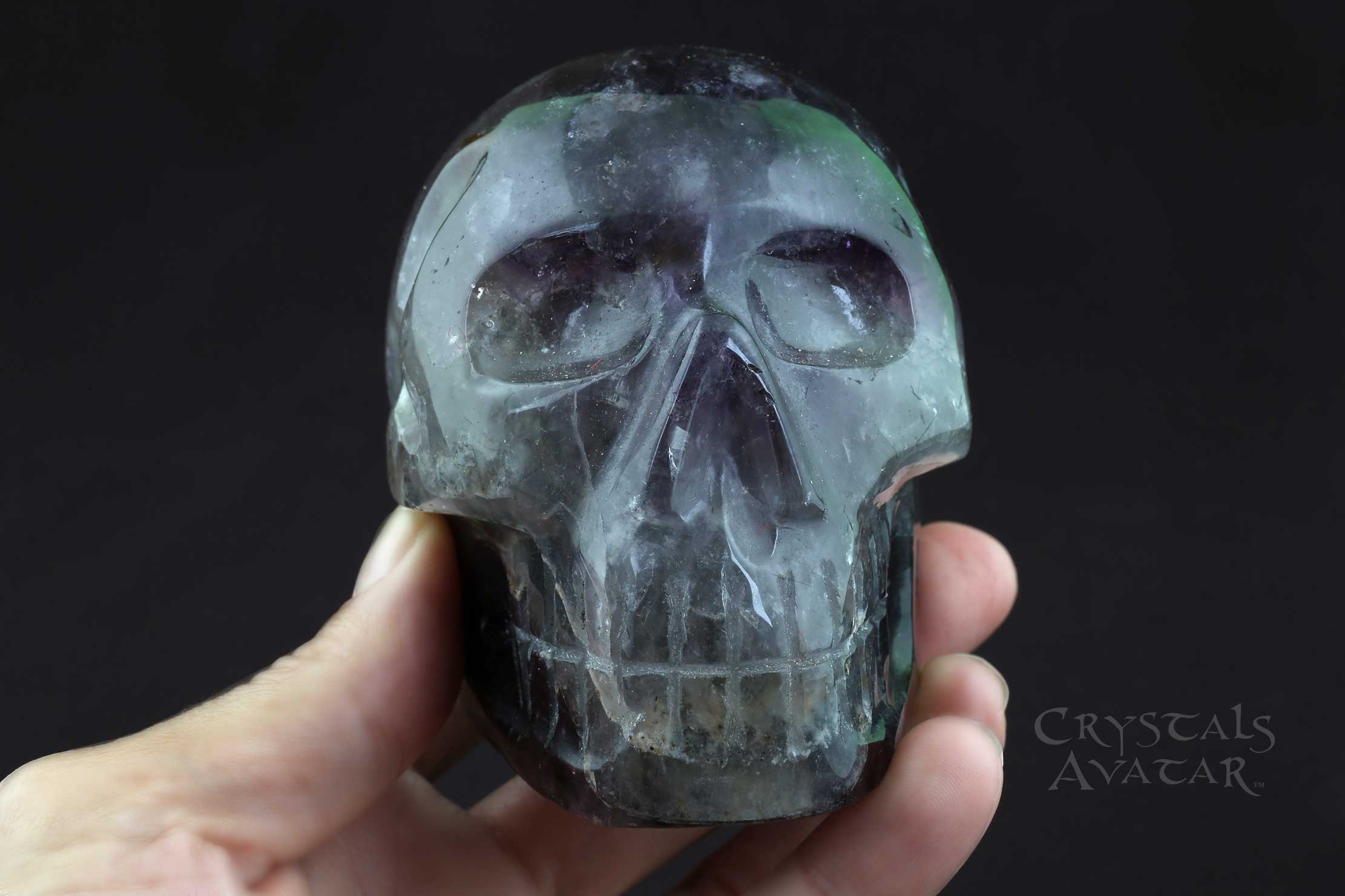 Auralite-23 Crystal Skull, Chevron, Polished, Hand Carved