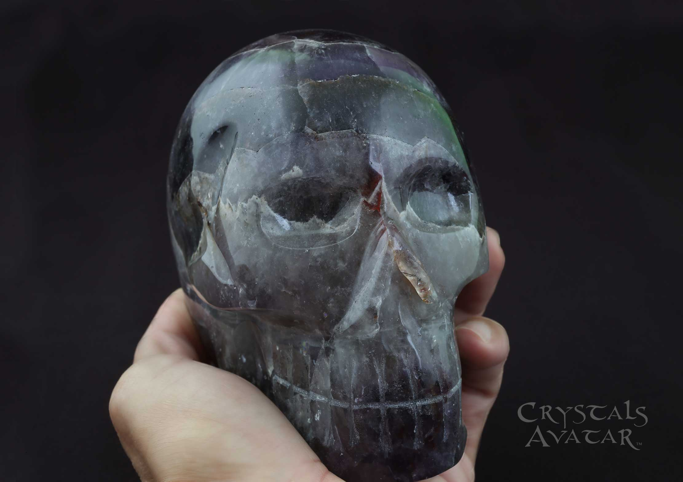 Auralite-23 Crystal Skull, Large, Carved, Polished