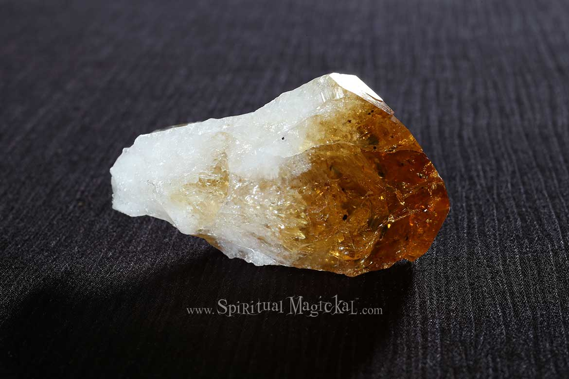 Citrine Crystal Point, Raw, Energy Stone, Brazil, Backside