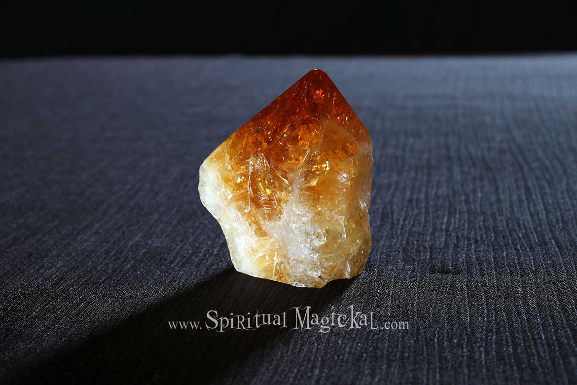 Citrine Crystal Point, Raw, Standing, Cleansing, Brazil