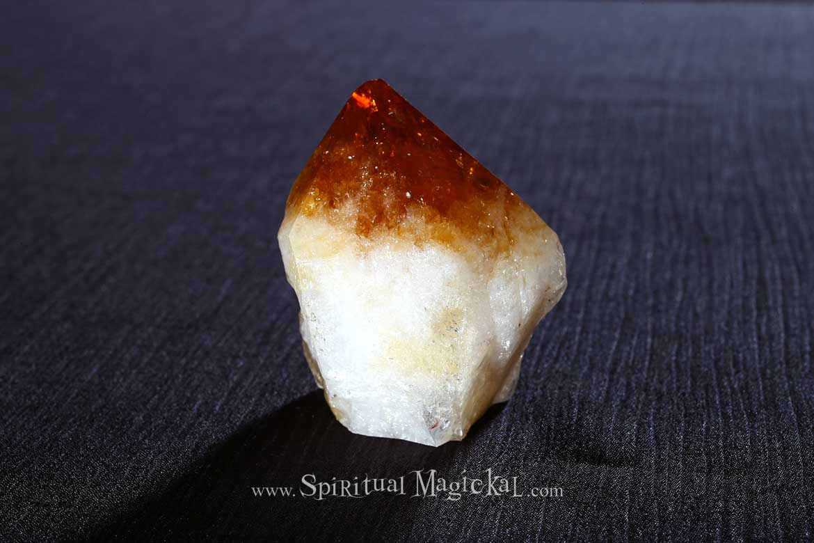 Citrine Crystal Point, Raw, Standing, Cleansing, Brazil, Backside