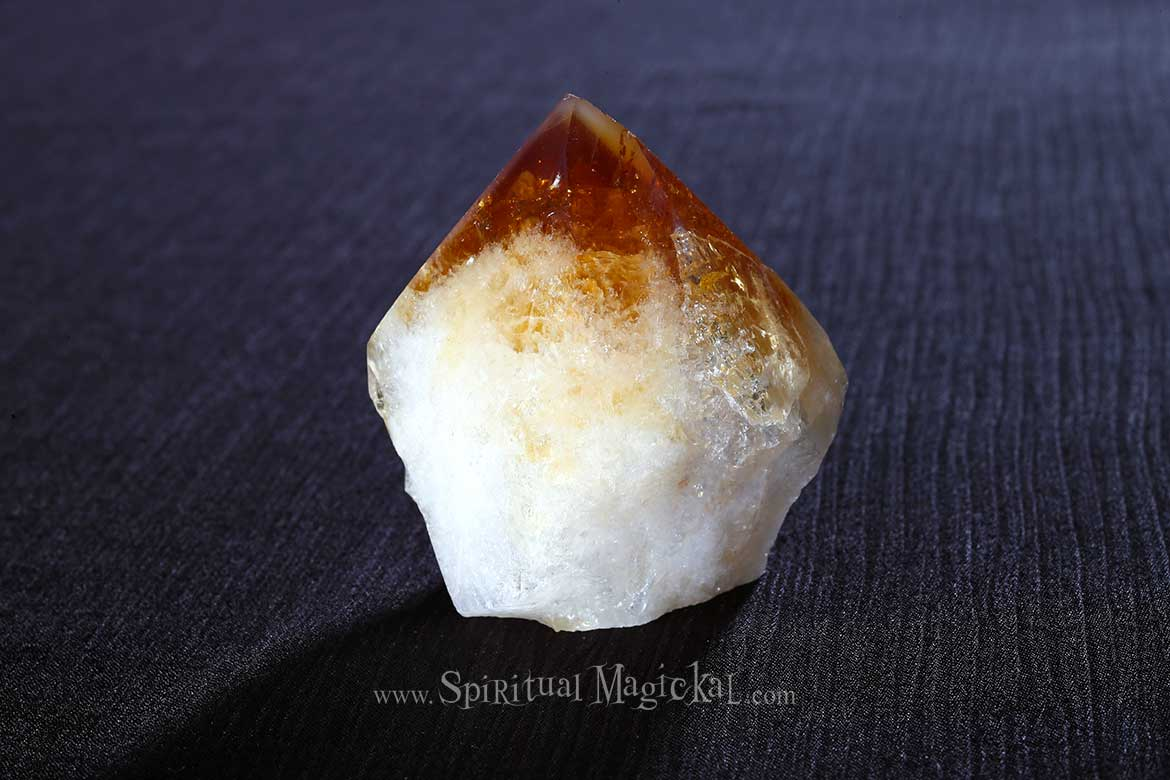 Citrine Crystal Point, Raw, Standing Stone, Brazil, Backside