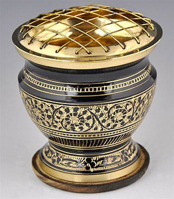 Decorative Carved Brass Screen Incense Burner