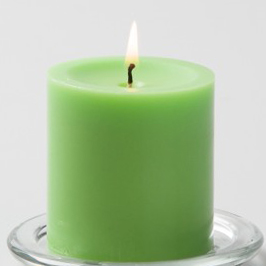 Green Pillar Candle, 3 inches