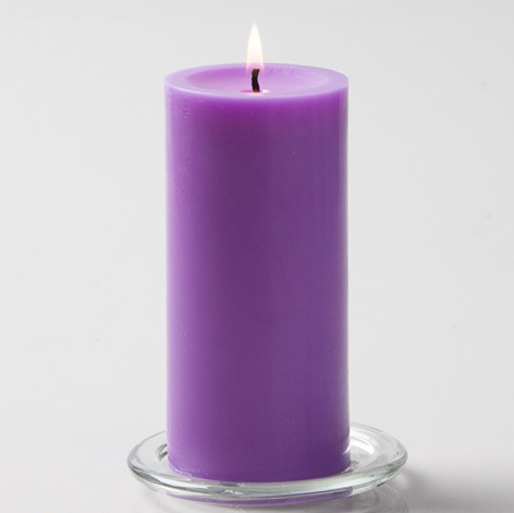 Lavender Pillar Candle, 6 inches