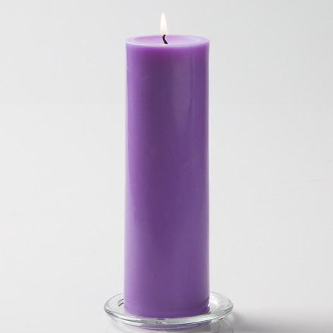Lavender Pillar Candle, 9 inches