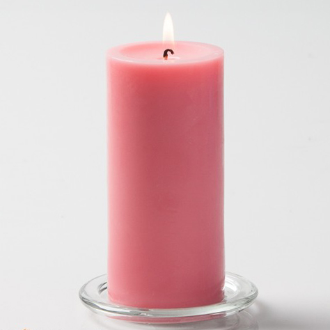 Pink Pillar Candle, 6 inches