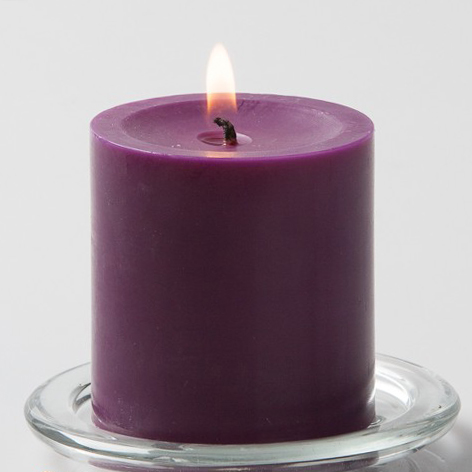 Purple Pillar Candle, 3 inches