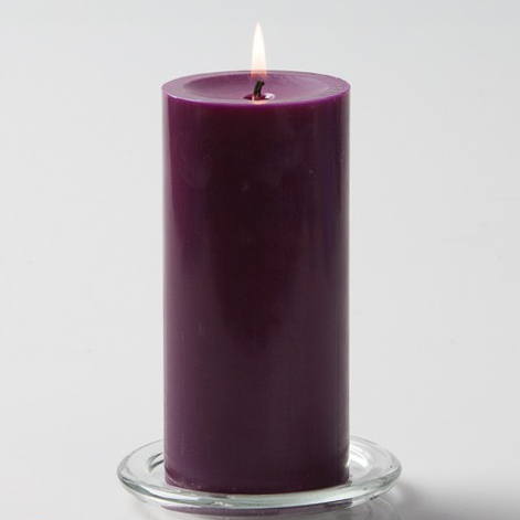 Purple Pillar Candle, 6 inches